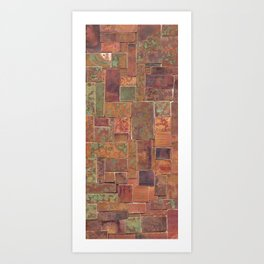 Red Patina Patchwork Art Print