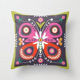FOLK ART BUTTERFLY Throw Pillow