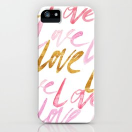 Pink and Gold Watercolor Love Typography Pattern iPhone Case