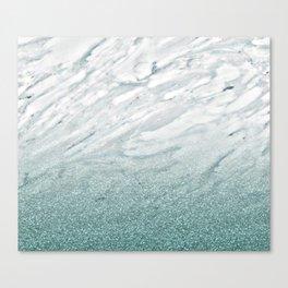 Calacatta Verde glitter gradient Canvas Print