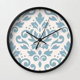 Scroll Damask Large Pattern Blue on Cream Wall Clock