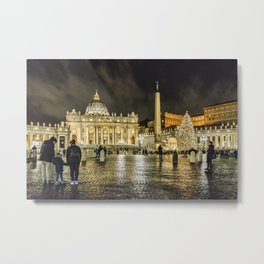 Saint Peters Basilica Winter Night Scene, Rome, Italy Metal Print
