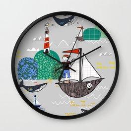 Pirates Ahoy Grey Wall Clock