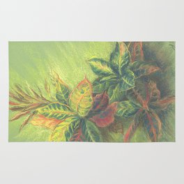 Colorful Leaves on colored paper Rug