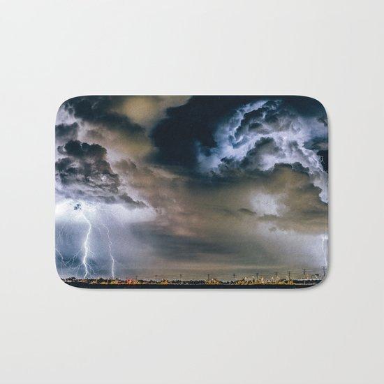 Lightning #clouds Bath Mat