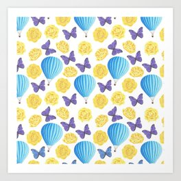 Modern yellow blue violet watercolor floral butterfly pattern Art Print
