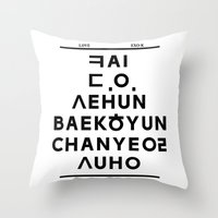 "exo Throw Pillows featuring EXO K- Hangeul: ""Love City"" Inspired by egoista"
