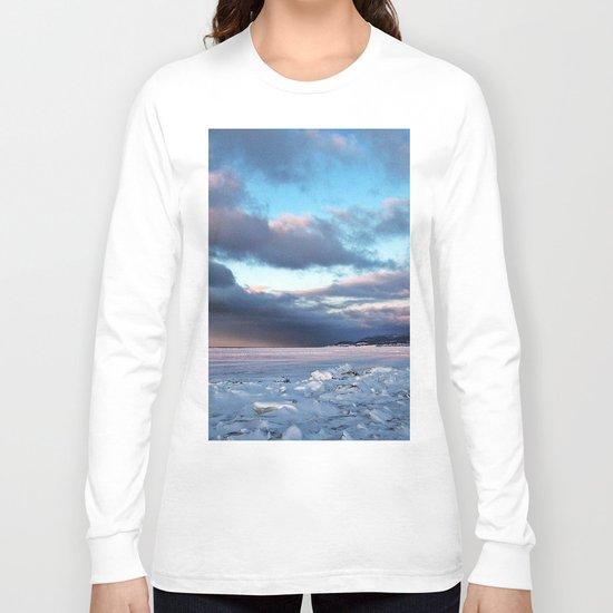 Storm Cloud Across Frozen Bay Long Sleeve T-shirt