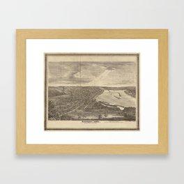 Vintage Pictorial Map of Davenport IA (1875) Framed Art Print
