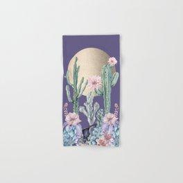 Desert Sun Cactus + Succulents Gold Deep Purple Hand & Bath Towel