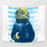 diver Wall Tapestries featuring Wild Diver by Steven Toang