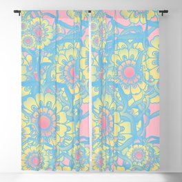 Pastel colored daisies Blackout Curtain