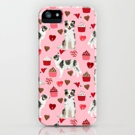 Border Collie valentines day cupcakes love hearts dog breed gifts collies herding dogs pet friendly iPhone Case