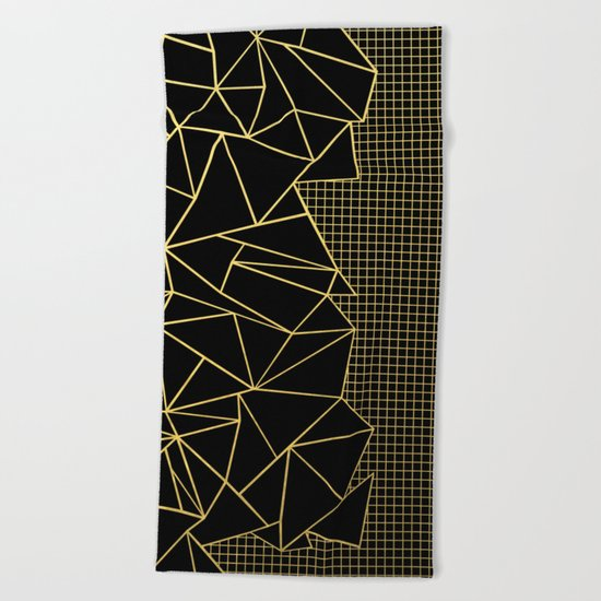 Ab Outline Grid Black and Gold Beach Towel