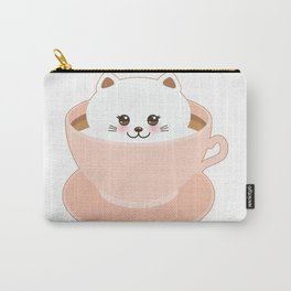 Cute Kawai cat in pink cup Carry-All Pouch