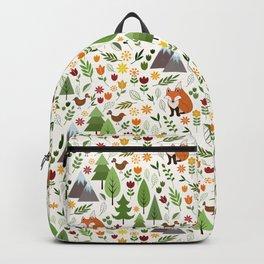 Scandinavian Style Illustrations on Cream Pattern Backpack
