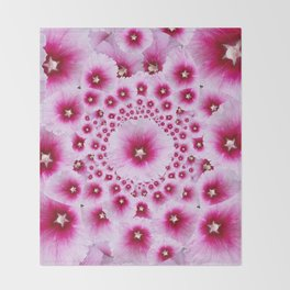 GEOMETRIC FUCHSIA-PINK HOLLYHOCK  PATTERNS Throw Blanket