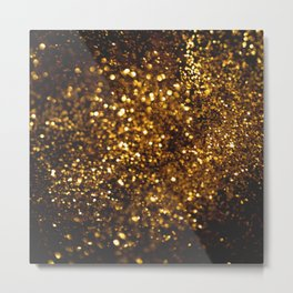 Gold bokeh glitter background Metal Print