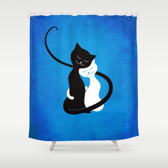 White And Black Cats In Love Shower Curtain
