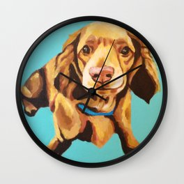 Miniature Long Haired Dachshund Painting on Blue Turquoise  Wall Clock