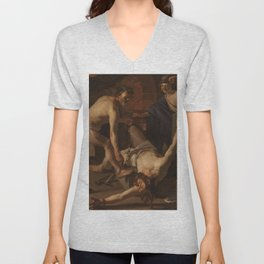 A 1623 oil on canvas painting by Dirck van Baburen Unisex V-Neck