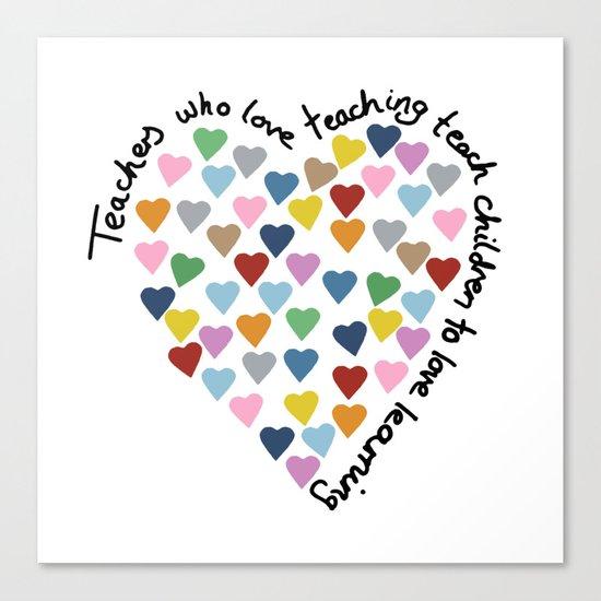 Hearts Heart Teacher Canvas Print