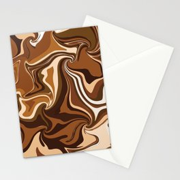 Brown Shade Marbel Color Mixup Stationery Cards
