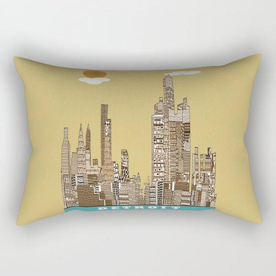 Detroit skyline vintage  Rectangular Pillow