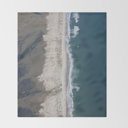 Aerial Beach Photograph: Masonboro Island | Wrightsville Beach NC Throw Blanket