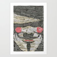 anonymous Art Prints featuring Anonymous by hopedso