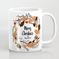 merry christmas Mugs featuring Merry Christmas by Anya Volk