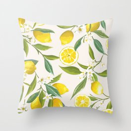Traditional Lemon Print Throw Pillow