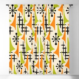 Mid Century Modern Atomic Wing Composition Orange and Chartreuse Blackout Curtain