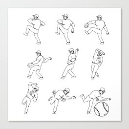 American Baseball Pitcher Throwing Ball Complete Set Canvas Print