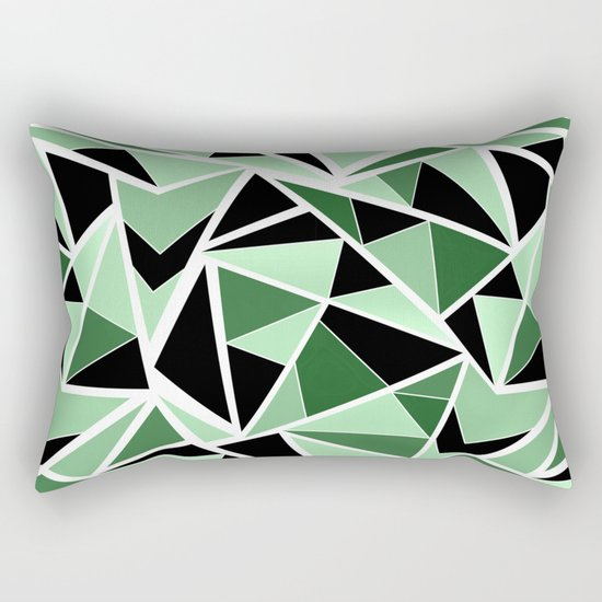 Abstract geometric pattern in black and green tones .Triangles . Rectangular Pillow