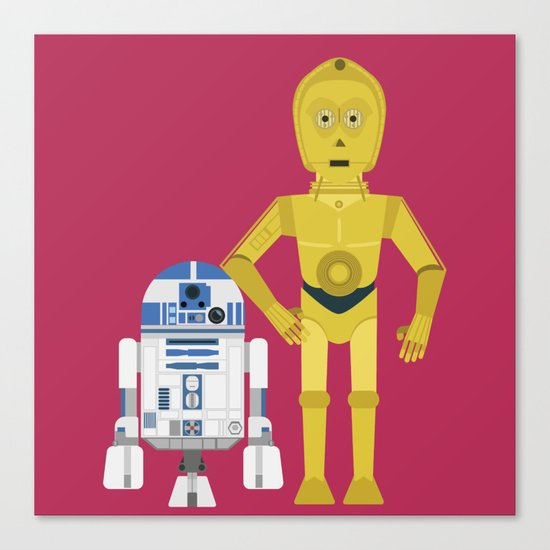 C3P0 and R2D2 vector Canvas Print