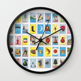 Mexican Loteria Card Tarot Card Game Design Spanish Wall Clock