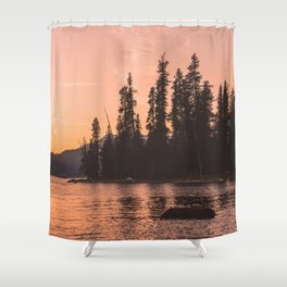 Forest Island at the Lake - Nature Photography Shower Curtain