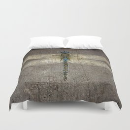 Dragonfly On Distressed Metallic Grey Background Duvet Cover