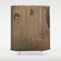 bathroom Shower Curtains featuring BATHROOM - FIFTY SHADES OF GREY by Virginieferreux