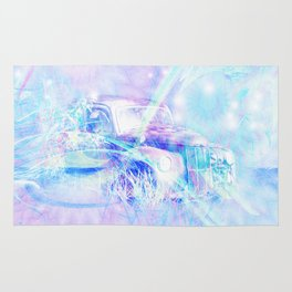 Old car in pink and blue space Rug
