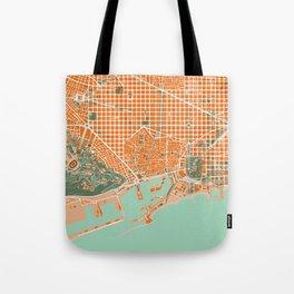 Barcelona city map orange Tote Bag