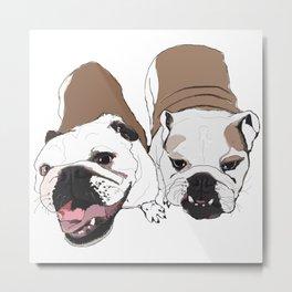 Two English Bulldogs Metal Print