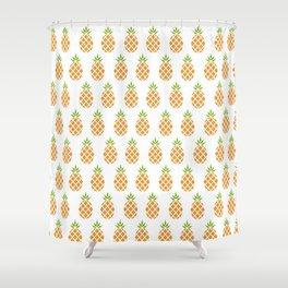 Plain Pineapple Print Color Shower Curtain