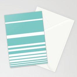 Scandi Pastel Mint Stripes Stationery Cards