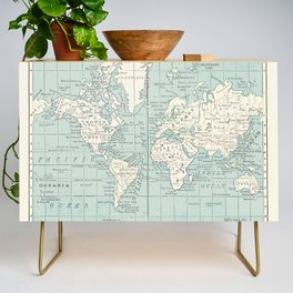 World Map in Blue and Cream Credenza