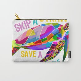 Skip a Straw Save a Turtle Tees Save Turtles Tee Shirt Carry-All Pouch