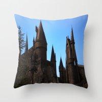 hogwarts Throw Pillows featuring Hogwarts by Blue Lightning Creative