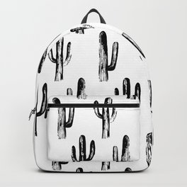 Black and white cactus. Modern botanical art. Abstract nature pattern. Illustration Backpack