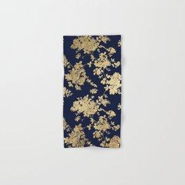 Elegant vintage navy blue faux gold flowers Hand & Bath Towel